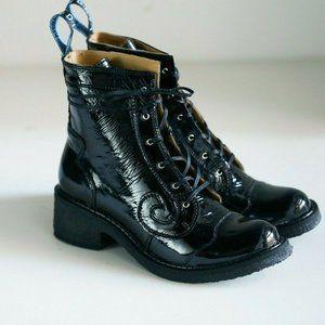 NIB John Fluevog Black Patent Slacker Booties